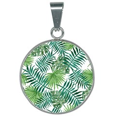 Green Tropical Leaves 25mm Round Necklace by goljakoff