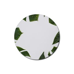 Green Leaves Rubber Round Coaster (4 Pack)