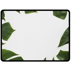 Green Leaves Fleece Blanket (large)  by goljakoff