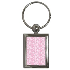 Pink Floral Background Key Chains (rectangle)