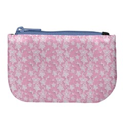 Pink Floral Background Large Coin Purse by Jojostore