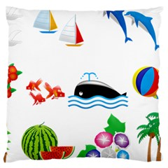 Summer Dolphin Whale Large Cushion Case (one Side) by Alisyart