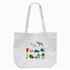 Summer Dolphin Whale Tote Bag (white)