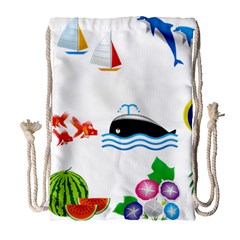 Summer Dolphin Whale Drawstring Bag (large)