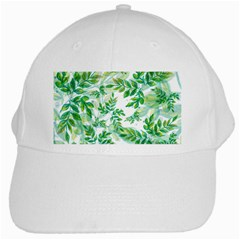 Leaves Green Pattern Nature Plant White Cap by AnjaniArt