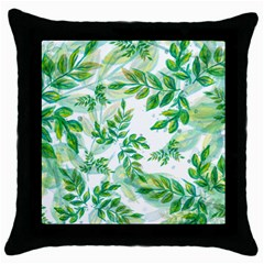 Leaves Green Pattern Nature Plant Throw Pillow Case (black) by AnjaniArt