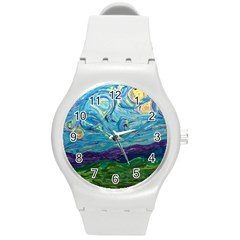 A Very Very Starry Night Round Plastic Sport Watch (m)
