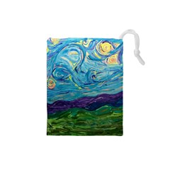 A Very Very Starry Night Drawstring Pouch (small)