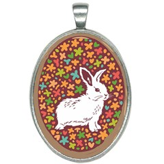 Easter Cute Rab Red Oval Necklace by NiOng