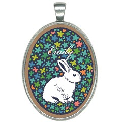 Easter Cute Rab Oval Necklace by NiOng
