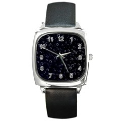 Blued Dark Bubbles Print Square Metal Watch by dflcprintsclothing