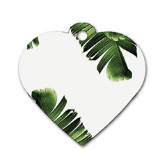 Banana Leaves Dog Tag Heart (two Sides) by goljakoff