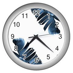 Blue Banana Leaves Wall Clock (silver) by goljakoff