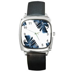 Blue Banana Leaves Square Metal Watch by goljakoff