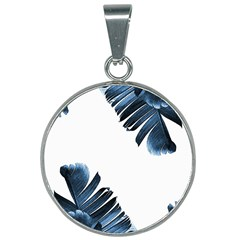 Blue Banana Leaves 25mm Round Necklace by goljakoff