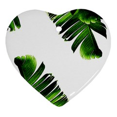 Green Banana Leaves Heart Ornament (two Sides) by goljakoff
