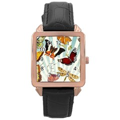 My Butterfly Collection Rose Gold Leather Watch  by WensdaiAmbrose