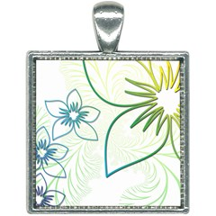 Flowers Background Leaf Leaves Blue Green Yellow Square Necklace by Jojostore