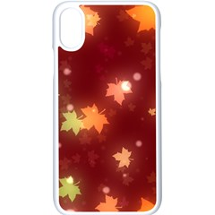 Leaf Leaves Bokeh Background Apple Iphone Xs Seamless Case (white) by Mariart