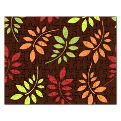 Leaves Foliage Pattern Design Rectangular Jigsaw Puzzl by Mariart