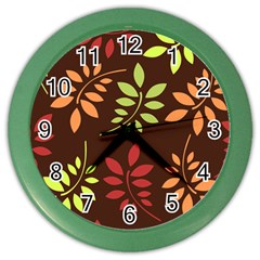 Leaves Foliage Pattern Design Color Wall Clock