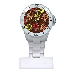 Leaves Foliage Pattern Design Plastic Nurses Watch by Mariart