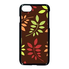 Leaves Foliage Pattern Design Apple Iphone 7 Seamless Case (black) by Mariart