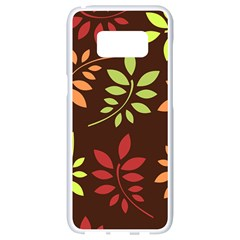 Leaves Foliage Pattern Design Samsung Galaxy S8 White Seamless Case by Mariart