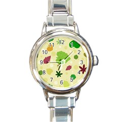 Leaves Background Leaf Round Italian Charm Watch by Mariart