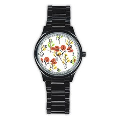 Tree Auntumn Leaf Stainless Steel Round Watch
