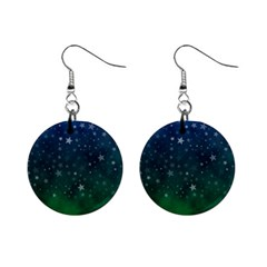 Background Blue Green Stars Night Mini Button Earrings