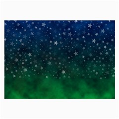 Background Blue Green Stars Night Large Glasses Cloth (2 Side) by Alisyart