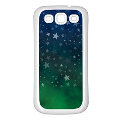 Background Blue Green Stars Night Samsung Galaxy S3 Back Case (white)