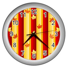 Autumn Fall Leaves Vertical Wall Clock (silver)