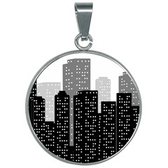 Building Town City Night Urban 30mm Round Necklace by AnjaniArt