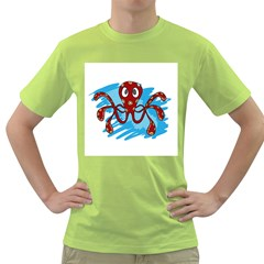 Octopus Sea Ocean Cartoon Animal Green T Shirt by AnjaniArt