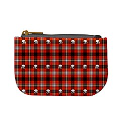 Plaid Pattern Red Squares Skull Mini Coin Purse