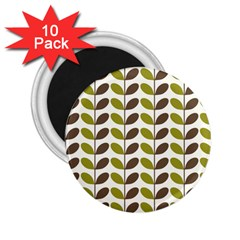 Leaf Plant Pattern Seamless 2 25  Magnets (10 Pack)  by Pakrebo
