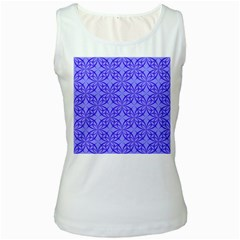 Decor Pattern Blue Curved Line Women s White Tank Top