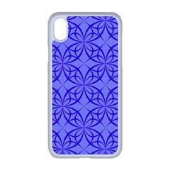 Decor Pattern Blue Curved Line Apple Iphone Xr Seamless Case (white)