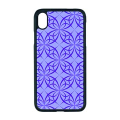 Decor Pattern Blue Curved Line Apple Iphone Xr Seamless Case (black)