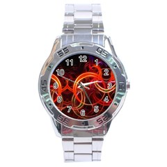 Background Fractal Abstract Stainless Steel Analogue Watch by Pakrebo