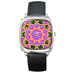 Background Fractal Structure Square Metal Watch