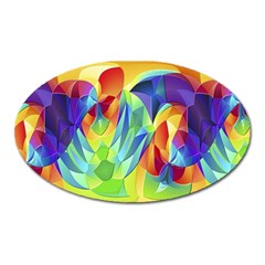 Modern Art Fractal Background Oval Magnet