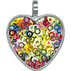 Pattern Background Abstract Color Heart Necklace