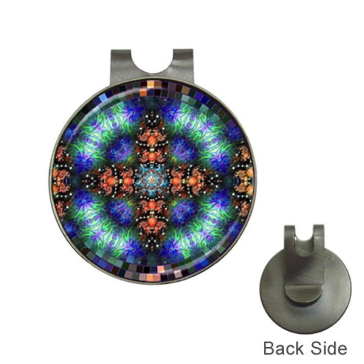 Mosaic Kaleidoscope Form Pattern Hat Clips with Golf Markers