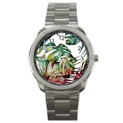 Tropical Leaves Sport Metal Watch by goljakoff