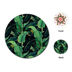 Night Tropical Leaves Playing Cards (round) by goljakoff