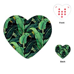 Night Tropical Leaves Playing Cards (heart) by goljakoff