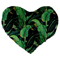 Night Tropical Leaves Large 19  Premium Heart Shape Cushions by goljakoff